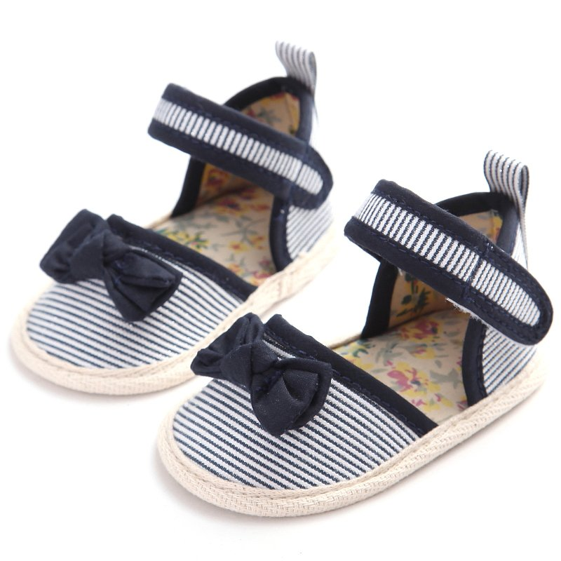 Hot Sell New Toddlers Baby Girls Shoes Striped Bowknot Princess Shoes Infant Anti Slip Prewalkers 0