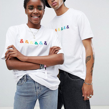 OEM Clothing Custom Design Embroidery T-shirt Couple White 100%Organic Cotton Tshit Unisex Custom Tshirt