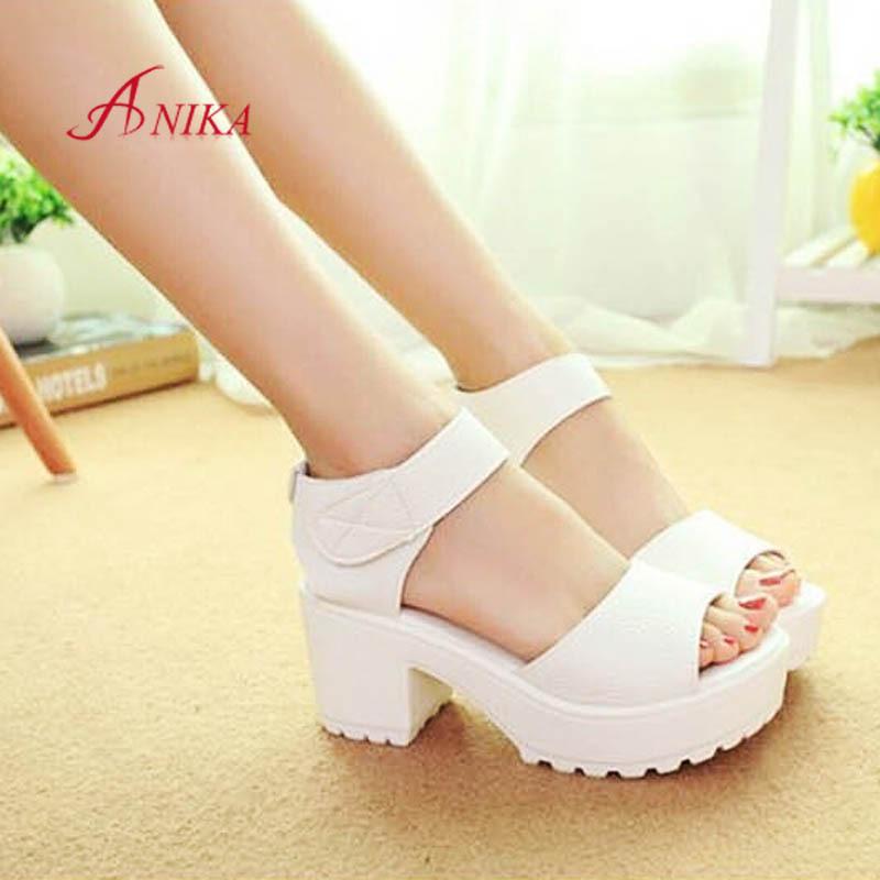 4568c6b4c Женщины лето обувь белый черный платформа мягкий полиуретан сандалии  женщины в высокая туфли на высоком каблуке обувь толстый пятки сандалии