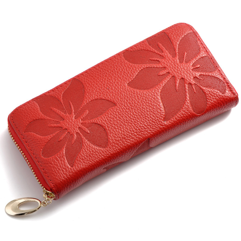 2015 Women Fashion Flower Print 100% Cow Genuine Leather Wallets Women Clutch Wallet Lady Vintage Clutch Bag Coin Poucht BM-9012