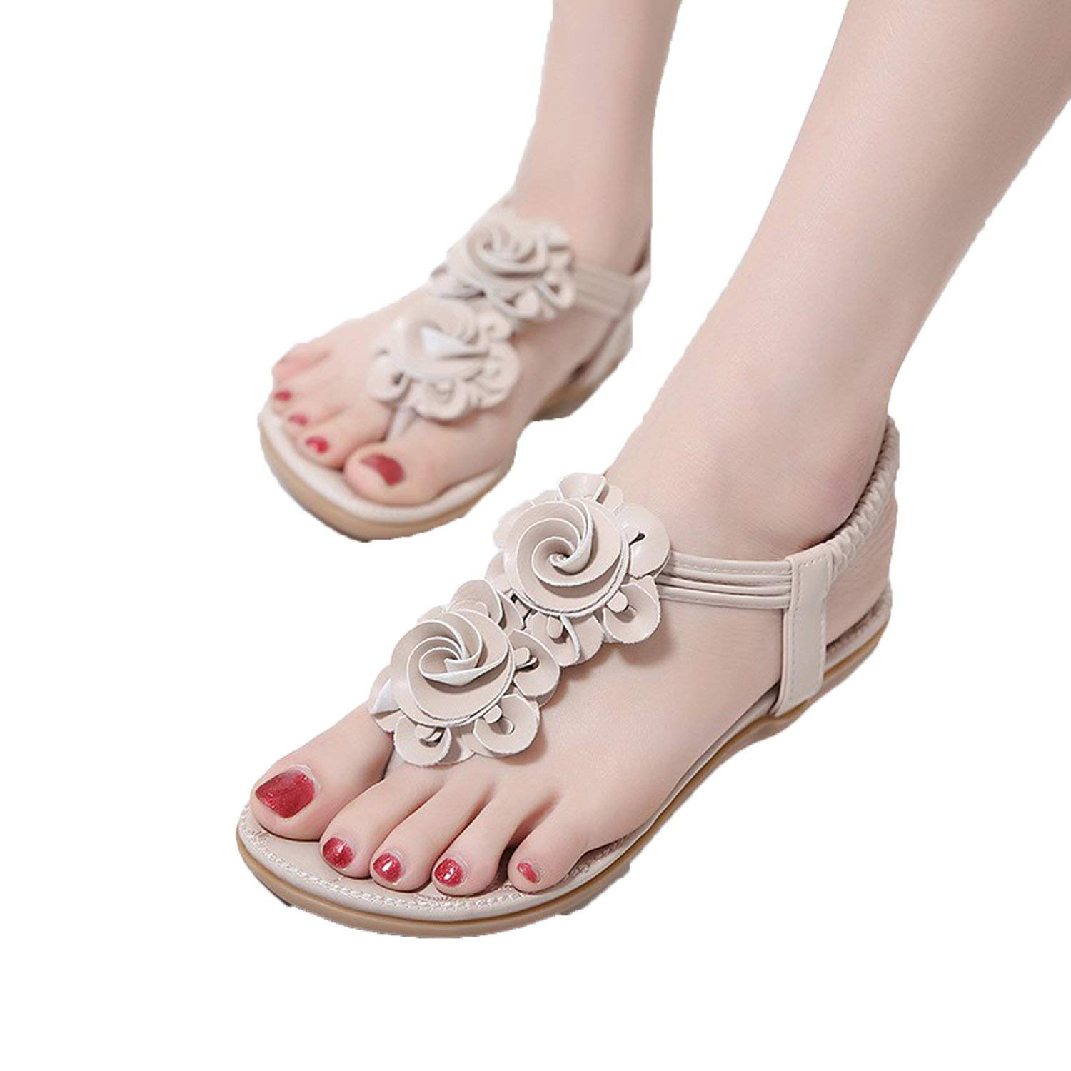 0a8a9ab367f39 Romantic moments Women Sandals Summer Casual Bohemia Flat Sandals Flower  Flip Flop Sweet Beach Size 35