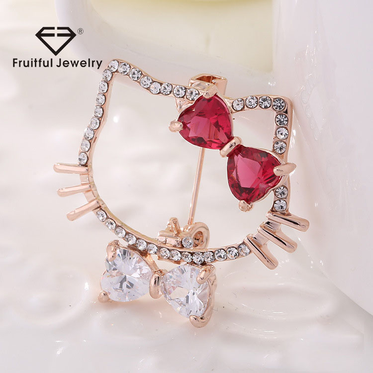 Exquisite Fashion Austrian Crystal Cat Brooches For Women Girls New Year Gifts Rhinestone Bow Tie Brooch