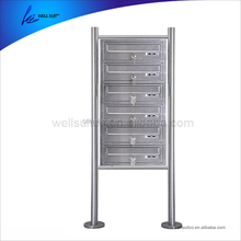 6 layers curbside stainless steel free standing mailboxes with lock waterproof letter box letter box