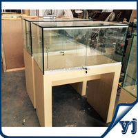 New design!! Lockable sliding door oak glass wooden jewelry display cabinet /wood color jewelry showcase