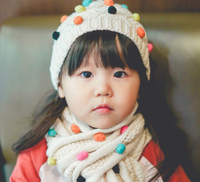 S10433A kids seven color ball top hat and scarf winter set 100% cotton fashion scarf and hat