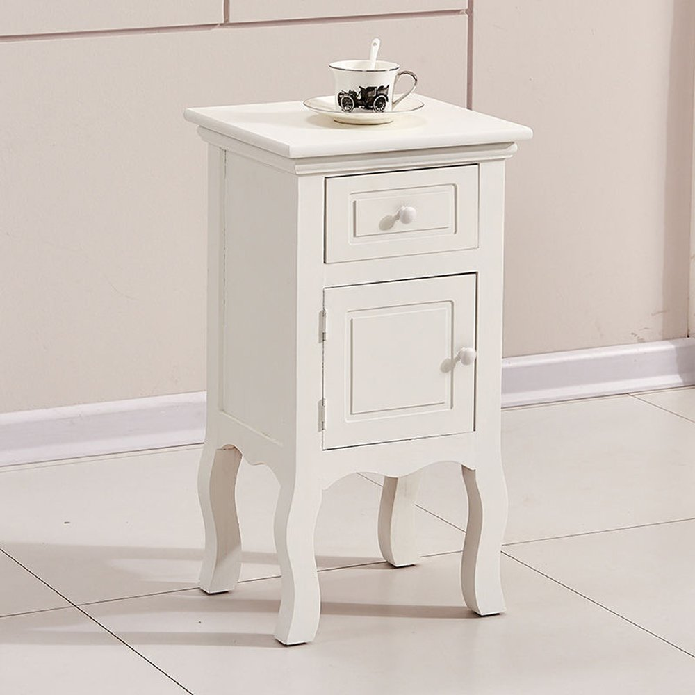 Superbe Get Quotations · OSPI 1 Drawer Vintage White Color Wooden Tall Slim Bedside  Cabinets / Night Stand / Units