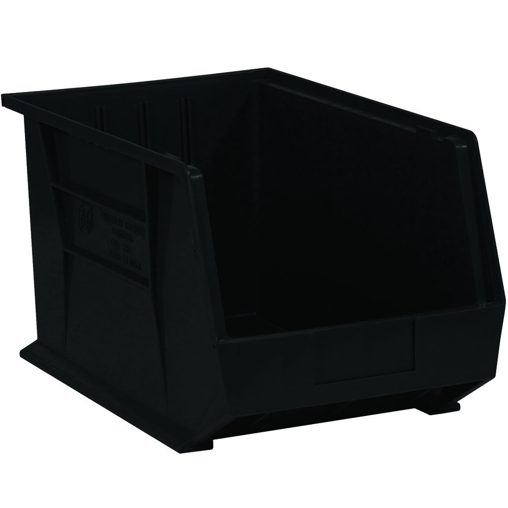 "Aviditi BINP1811K Plastic Stack and Hang Bin Boxes, 18"" x 11"" x 10"", Black (Pack of 4)"