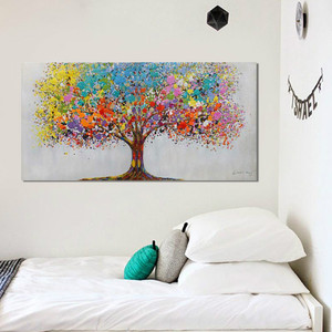 Tree Handmade Abstract Oil Painting for Bedroom Decoration Modern Wall Art Painting Hand Painted Canvas Oil Painting Home Decor