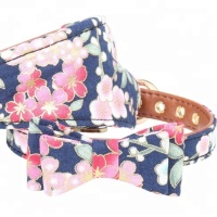 YADI PU Leather Dog Collar Bow Flower Print Small Dog Leash Collar Outdoor Pet Walking Lead