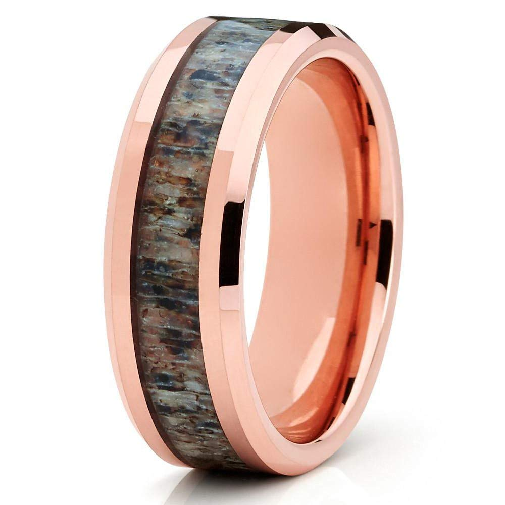 85c47fcc162 Get Quotations · Silly Kings 8mm 18k Rose Gold Deer Antler Tungsten Wedding  Band Rose Gold Tungsten Ring Engagement