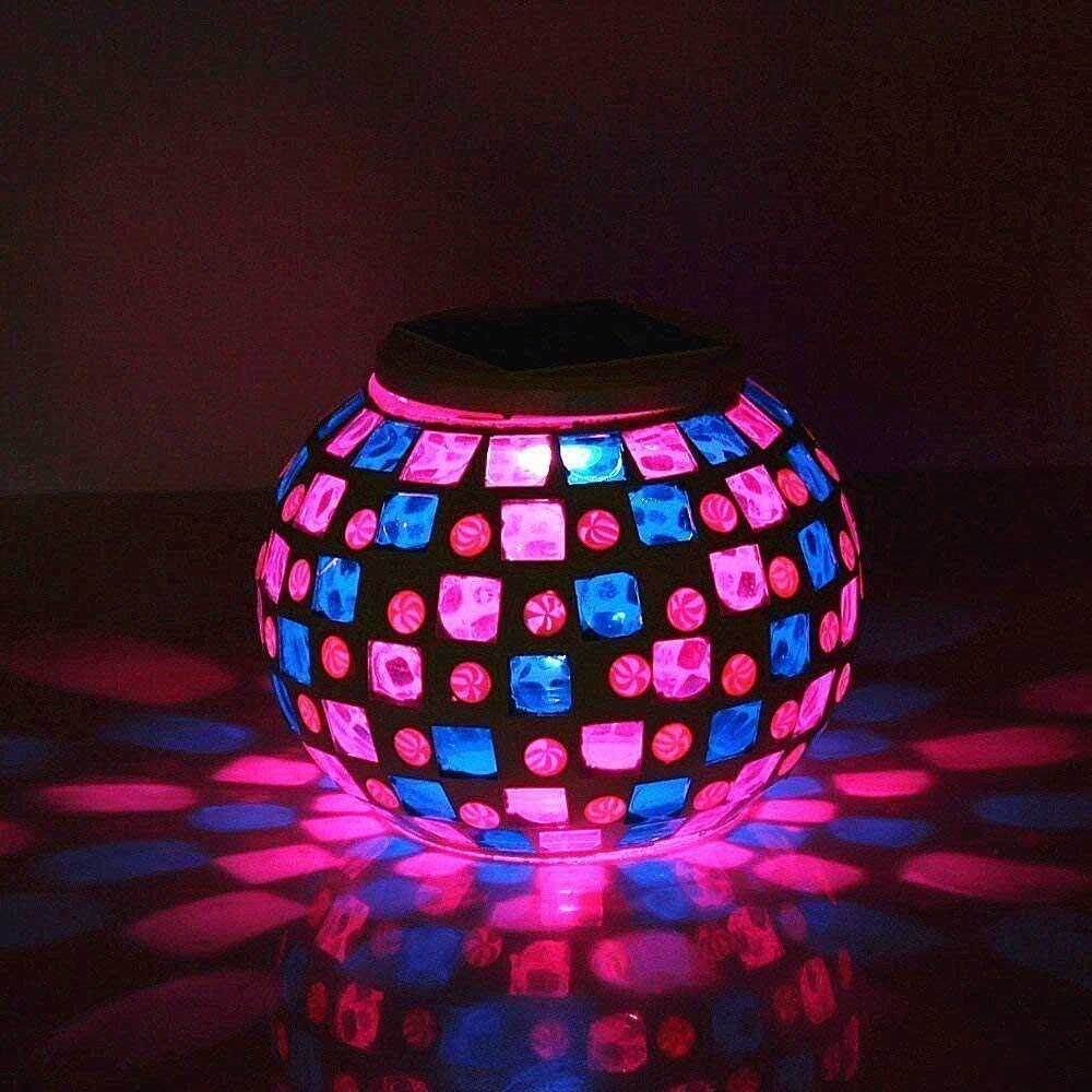 Color Changing Mosaic Solar Light,MUEQU Crystal Glass Globe Ball light Table Lamps, Waterproof Garden Lights Decorative LED Night Light for Xmas Home Bedroom Patio, Ideal Gifts (Red & Blue Square)