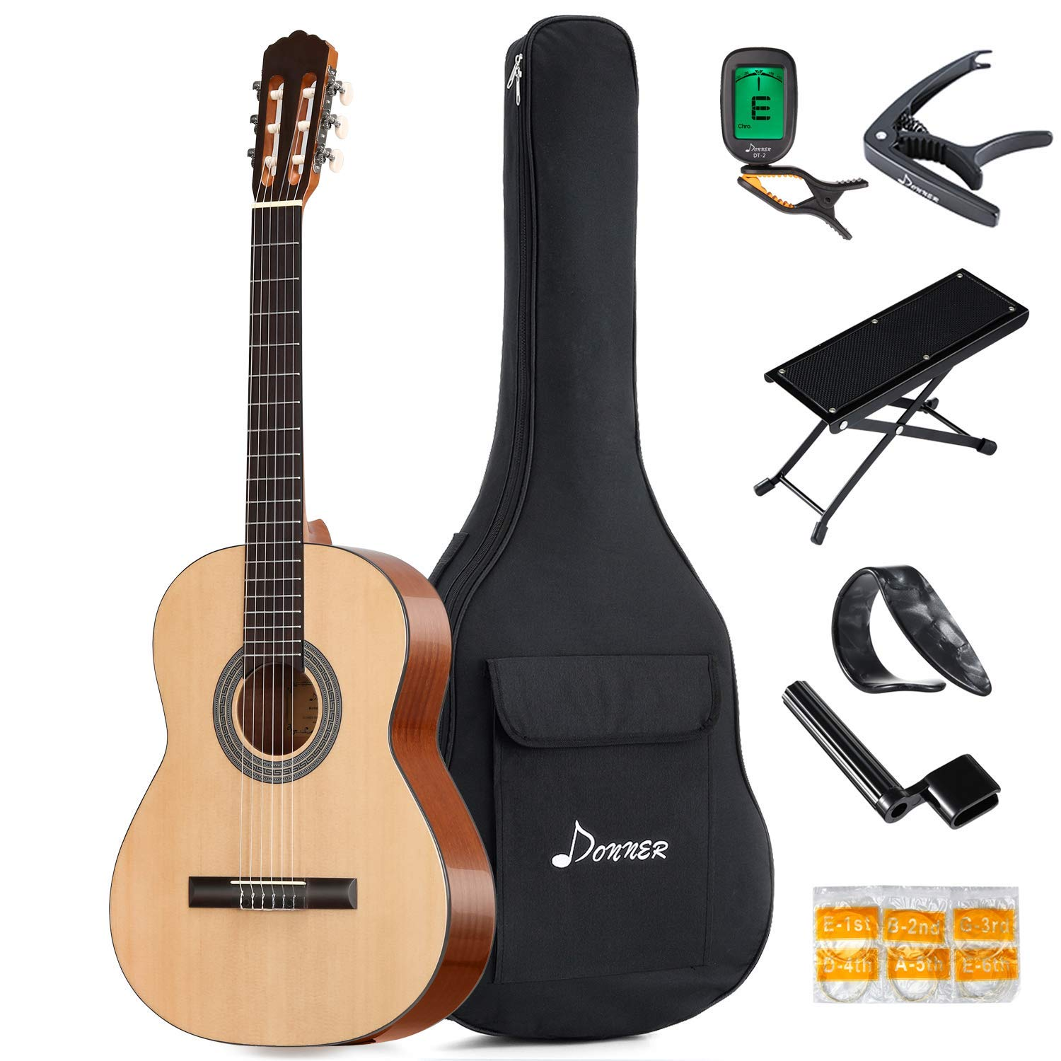 1e041515480 Get Quotations · Donner Full-size Classical Acoustic Guitar DCG-1 39 Inch  Beginner Guitar Package Spruce