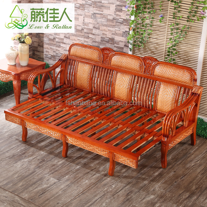 New Living Room Furniture Set Multi Purpose King Queen Wicker Rattan Wooden Corner Sleeper Sofa