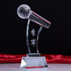Personalized Customized Champion runner up third winner in contest crystal microphone trophy