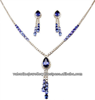 Real Tanzanite Gold Jewelry Necklace Set Light Gold Gemstone