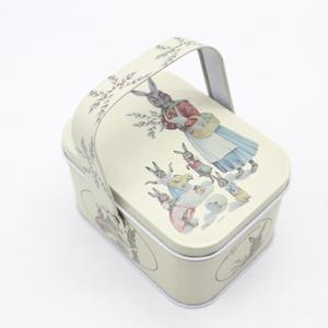 Lovely wedding candy cookie storage metal tin box with handle tin can food