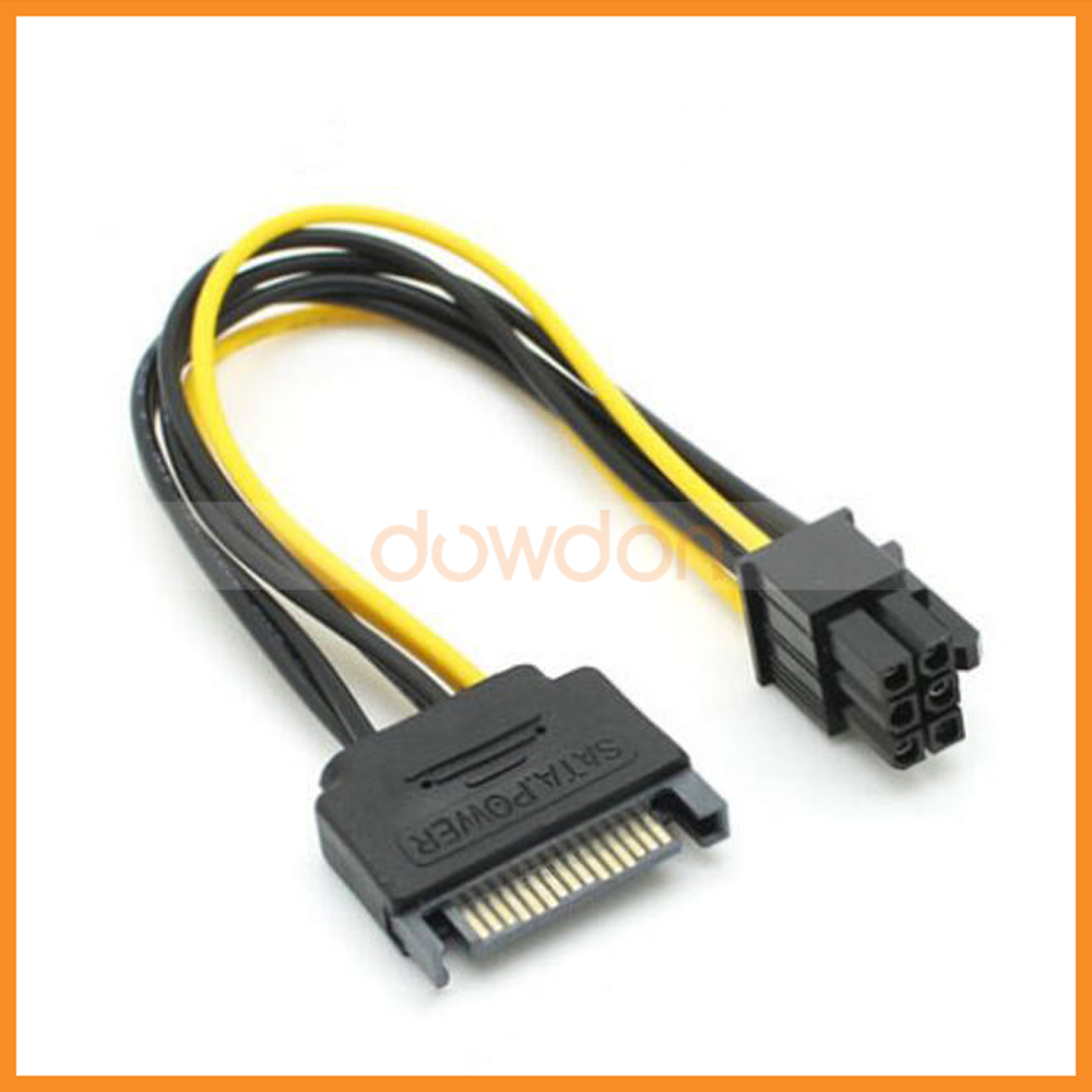 15Pin SATA to PCI-E 6 Pin Power Supply Cable 18AWG Wire For PCI-E Graphics Video Display Card