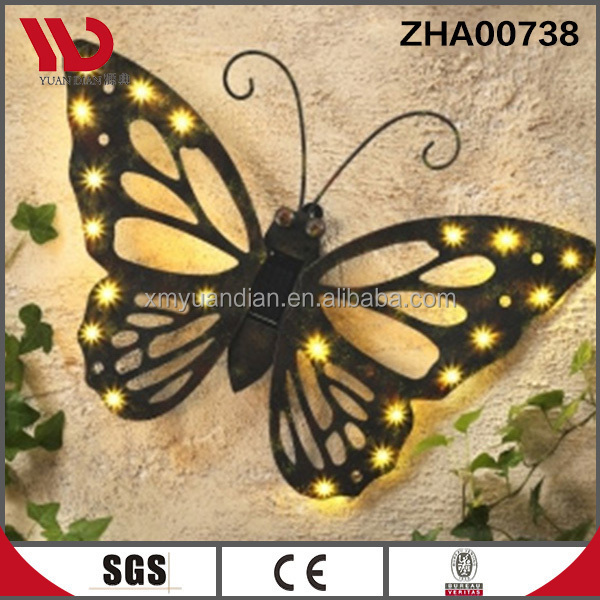 Metal Butterfly Wall Decoration With Solar Light - Buy Metal ...