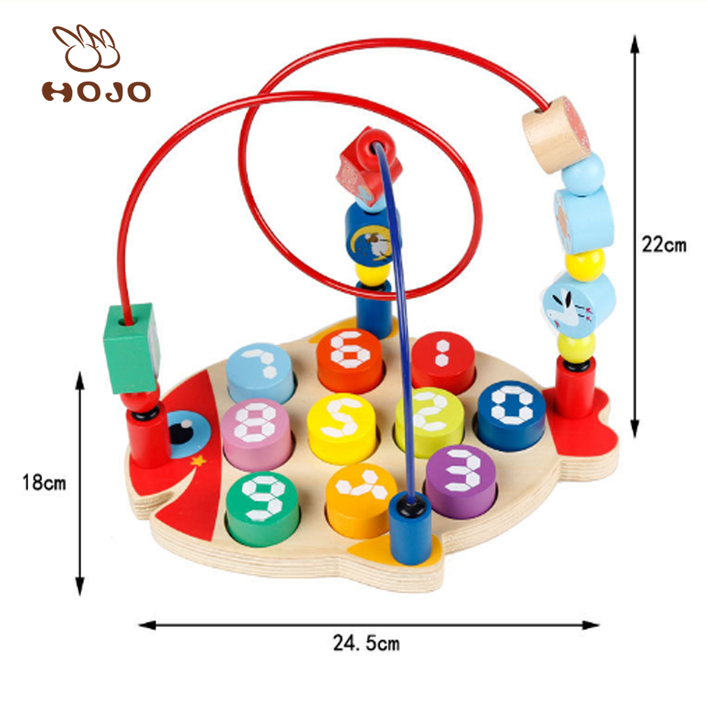 Novelty kids educational handmade wooden mini wire round bead toy