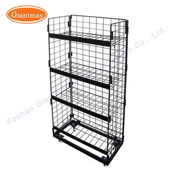 Stackable Collapsible Floor Standing Metal Storage Hanging Wire Mesh Baskets  Stands With Wheels