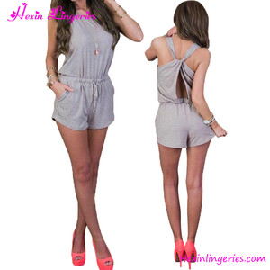 Custom made grey short one piece jumpsuit for ladies