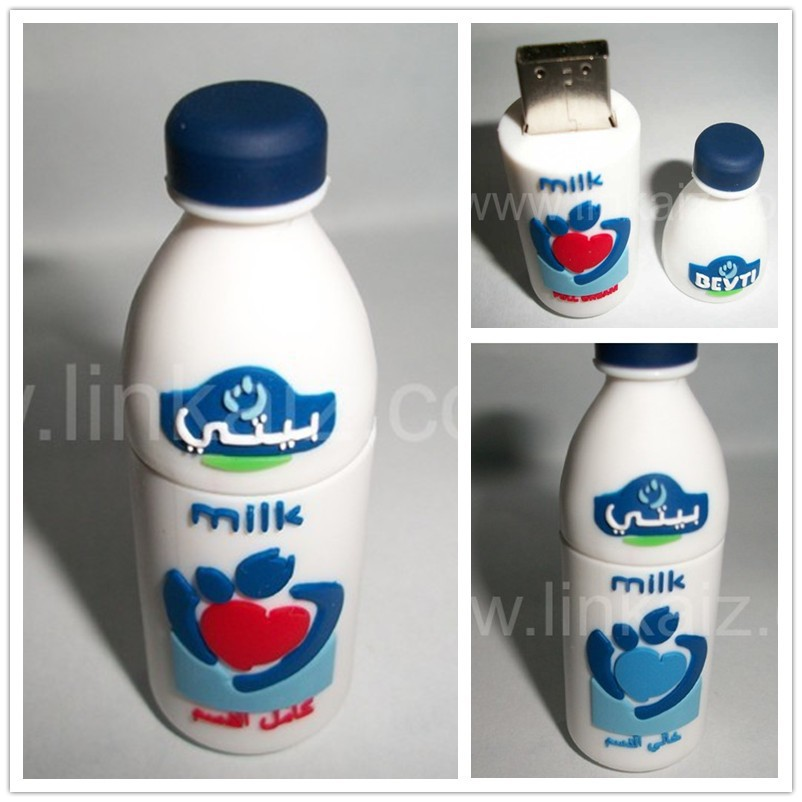 2GB Milk bottle usb stick 4GB custom 3D milk bottle shape usb flash drive
