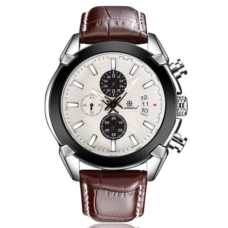 Business Lederen Megir Horloges Mannen Casual Chronograph Quartz Horloge