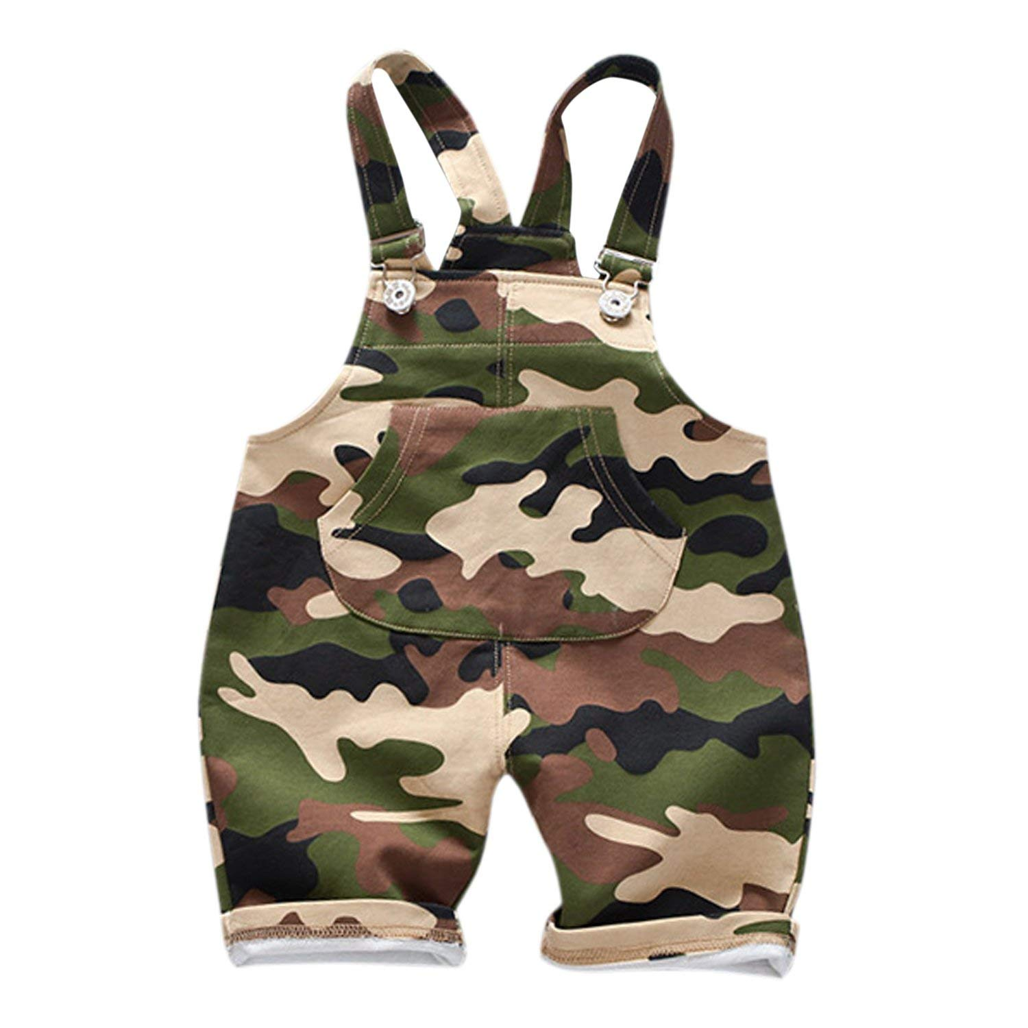 992897c6c0e10 Get Quotations · Evelin LEE Baby Boys Cute Camo Bib Pants Sleeveless Romper  Jumpsuits Overalls