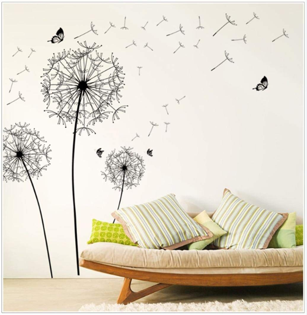 Rumas DIY Dandelion Wall Sticker Large, Home Decor, Waterproof Removable Art Mural, Creative Wall Decals for Kids (Black)