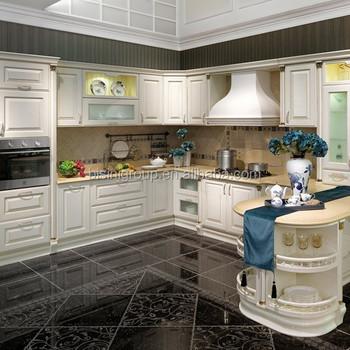 Luxury Royal European Style White And Golden Kitchen