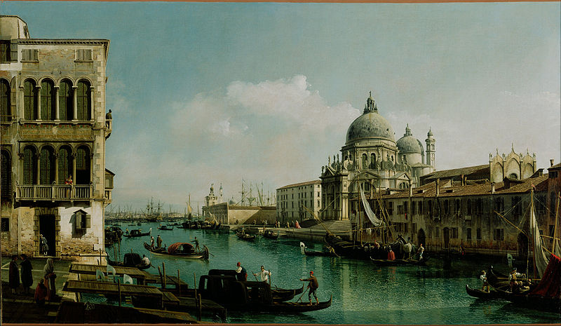 Canvas Art Prints Fabric Wall <font><b>Decor</b></font> Giclee Oil Painting Bernardo Bellotto (<font><b>italian</b></font> - View Of The Grand Canal And Dogana