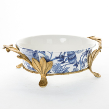 2016High quality blue and white tableware bowl ceramic candy bow with brass shelf