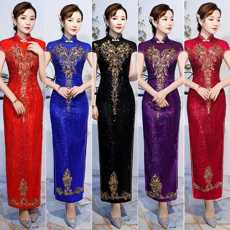 Q074 Chinese Cheongsam Fitting Evening Gowns High Neck Traditional Women Dress 2019 New Elegant Mother of the Bride Dress