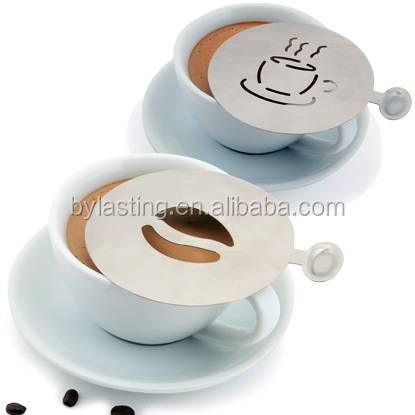 China Supplier kitchen Accessories Stainless Steel Coffee Stencils Sets Funny Shape Costomize Latte Coffee Stencils
