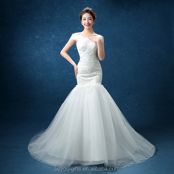 Blue Mermaid Wedding Dresses with Ruffles