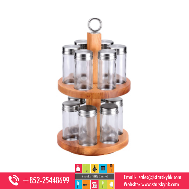 Spice Set , 12pcs Rotatable Stainless steel glass Spice sets Glass Spice Bottle , high quality glass spice bottle with rack