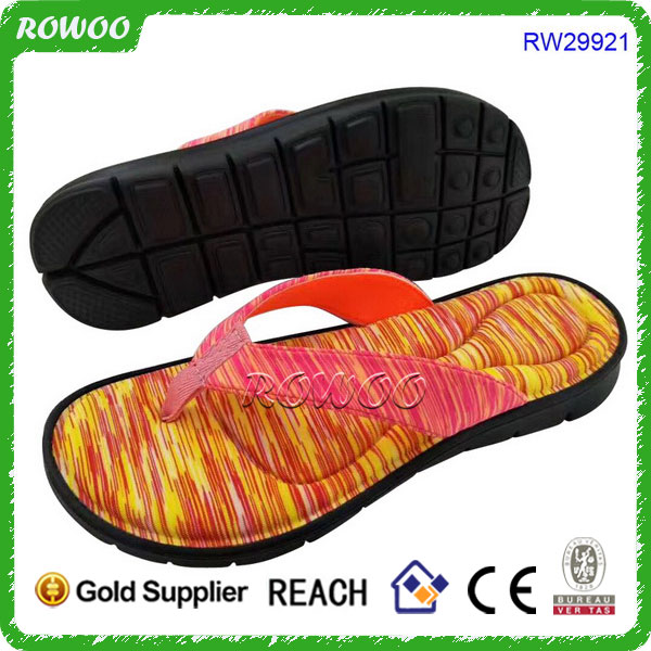 RW29921,Waterproof Rainbow Swimsuit Cloth Made Sandal,Soft Sole Sandal