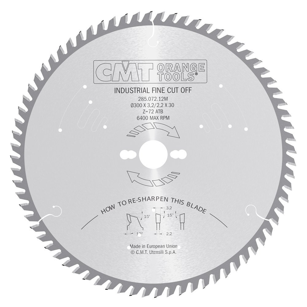 CMT 285.072.12M Industrial Heavy-Duty Fine Cut-Off ATB Blade and 300mm 13-25/32-Inch by 72 Teeth 15-Degree ATB with 30mm Bore