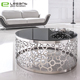 Artistic stainless steel metal base black glass coffee center table