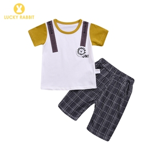 Toddler Baby Boy Summer Clothes Online Sale 2-Piece Set Plaid Shorts Newborn Handsome Baby Infant Born Boy Outfits
