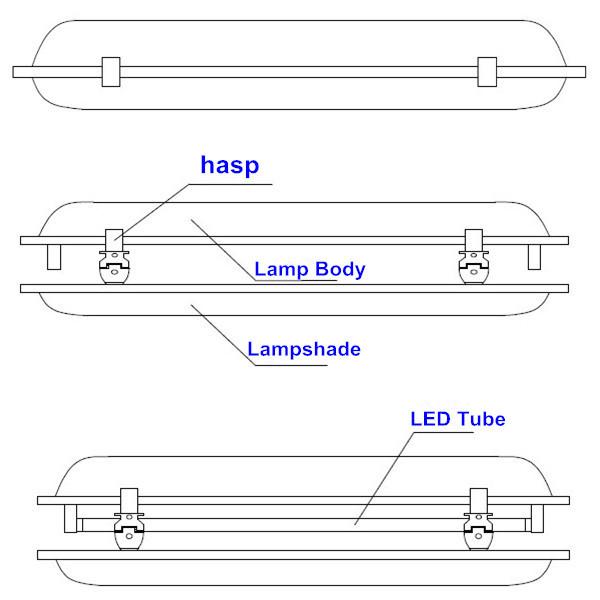 High Lumen Chinese 4feet Waterproof T8 Ceiling Led Lamp Tube 2x18w ...