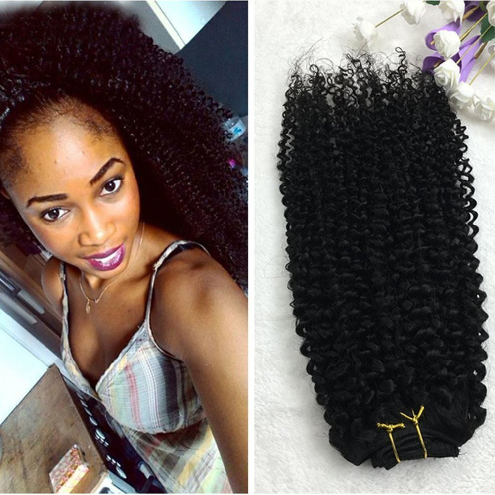 "14""7 Pcs 120g Curly Hair Clip Ins For African Hair Extensions American Women Natural Hair Full Head Clip In Remy Human Hair Extensions Curly Black Remy Human Hair fr Black Women"