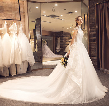 Cap Sleeve High Neck Puffy Ball Gown 1.5M Long Tail Ivory Wedding Dress