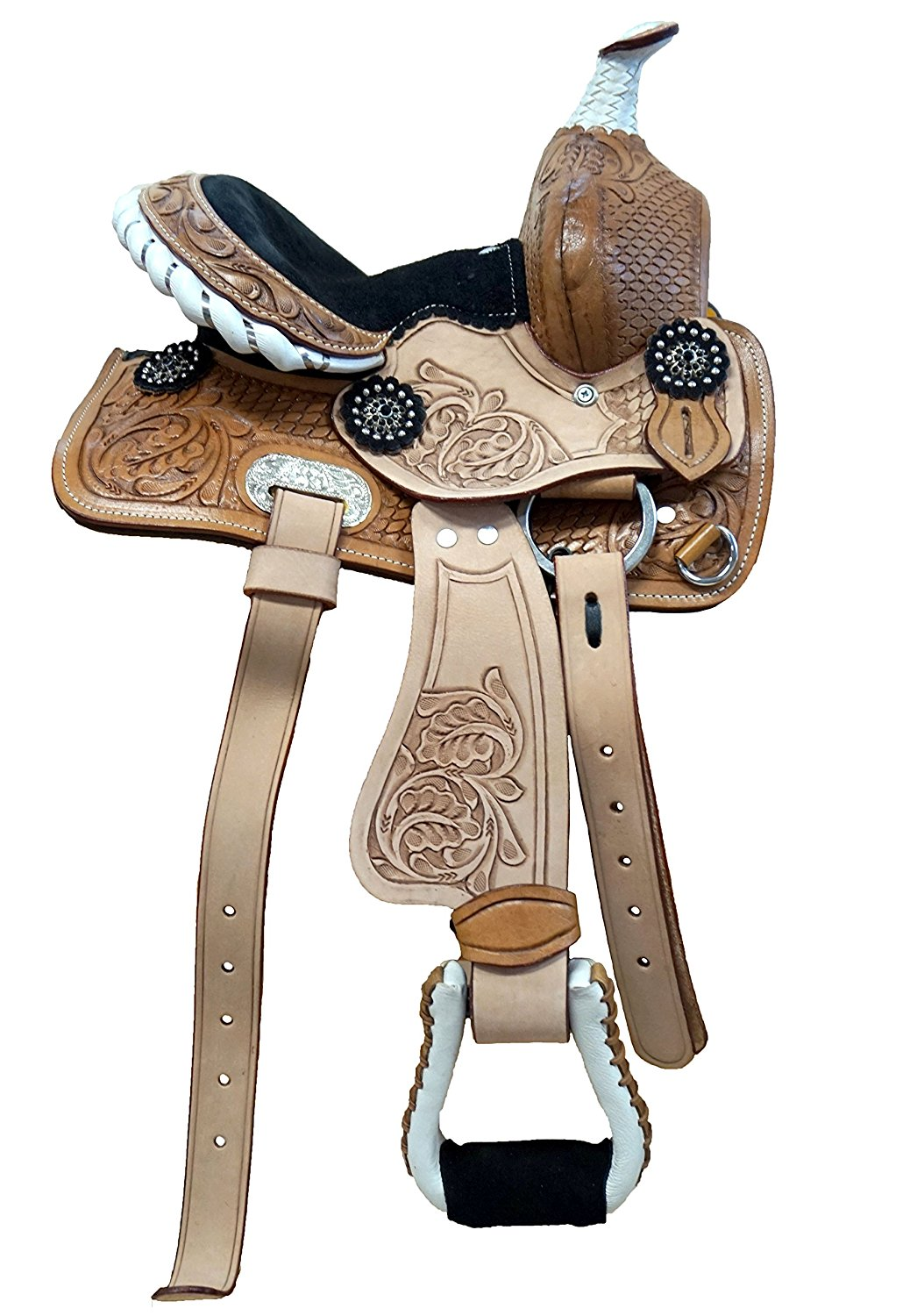 """10"""" Western Mini Pony Youth Leather Saddle with Black Suede Seat"""