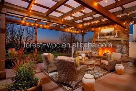 Nieuwe dakbedekking pergola gazebo hout binnen dakbedekking