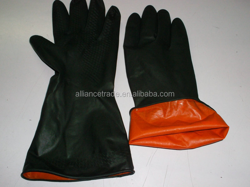Rubber Glove-- Black and orange color chemical resistant industrial latex rubber work gloves