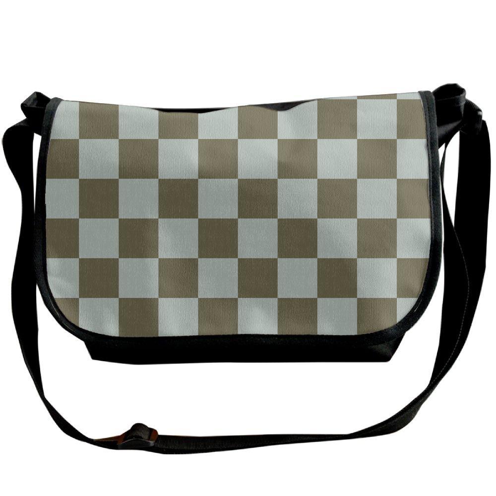 High School Boys Fashion Teal Tartan Plaid\r\n Pattern Crossbody Messenger Bag Retro Over The Shoulder Bags For Men For School