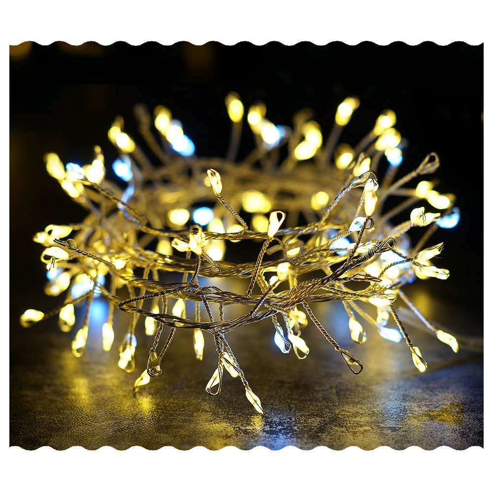 BRIGHT ZEAL 4.5'FT LED Battery Operated Vine String Lights for Garland (6hr Timer)- Prelit Christmas Garland Decorations Gold Lights for Christmas Tree Topper - Twinkle Xmas Lights Home Seasonal Decor