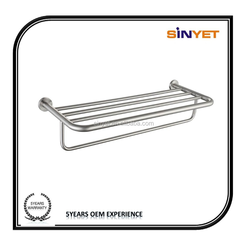High quality bathroom fittings accessory Wall Mounted 304 stainless steel towel rail Towel shelf corner Towel rack