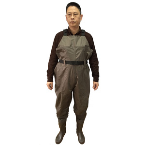 Environmental material waterproof fishing 70D nylon/pvc camo print chest wader